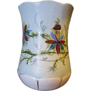 Victorian Hand Painted Porcelain Shaving Mug or Toothbrush Holder