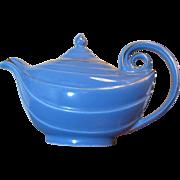 Stylish Hall Aladdin Cadet Blue Teapot with Gold Trim, 1950's