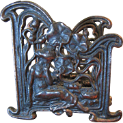 Antique Art Nouveau Letter Holder, Exquisite Design of Maiden with Lilies