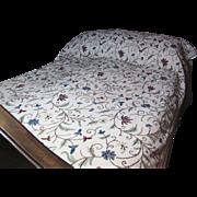 SALE Kashmiri Crewel Embroidered Coverlet or Bedspread