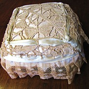 Antique Lush Lace and Ribbon Pin Cushion, Perfect for Ring Bearer