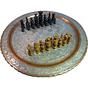 Antique Persian Copper Tray Table Top Chess Board