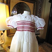 SOLD ON HOLD FOR E. Beautiful Organdy Childs Vintage Small Dress with Hand Smocked Bodice