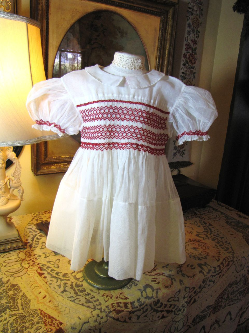 ON HOLD FOR E. Beautiful Organdy Childs Vintage Small Dress with Hand Smocked Bodice