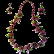 SALE Art Deco Venetian Murano Hand Blown Glass Pink Flower Necklace & Earring Parure