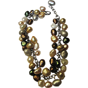 SALE Gorgeous Hand Wired Multi Colored Freshwater Pearl Bracelet