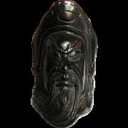 Vintage Netsuke, Carved Face of an Elder, Very Detailed