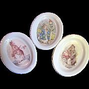 Three Beatrix Potter Bunny Design Trinket Dishes