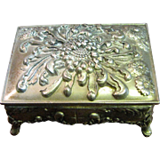Vintage Metal Floral Footed Trinket Box with Red Lining, Japan