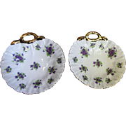 Pair of Lefton China Gilt Violet Porcelain Shell Trinket Trays