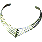 Circa 1980's Sculptural Silvertone Collar Necklace