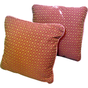 "SALE Pair of New Old Stock Rust Red Brocade 16"" Piped Pillows (up to 2 pairs available)"
