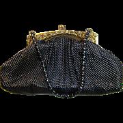 Elegant Whiting & Davis Black Mesh Rhinestone Jeweled Evening Bag with Coin Purse & Mirror