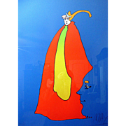 """RARE Peter Max Signed Artists Proof """"Prince of Blue"""""""