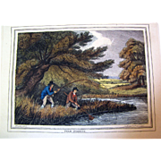 """1834 """"Pike-Fishing"""" Hand Colored Engraving After Samuel Howitt (one of four antique"""