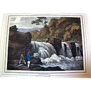 """1834 """"Minnow-Fishing"""" Hand Colored Engraving After Samuel Howitt (one of four antiqu"""