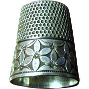 SALE Antique Simon Bros. Floral Engraved Sterling Silver Thimble, Size 6