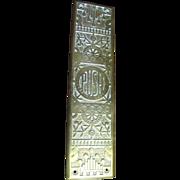 SALE Antique Cast Brass Door Push Plate With Ornate Floral Decoration