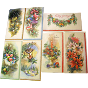 Seven 1950's Unused Coronation USA Made Christmas Cards, Beautiful!