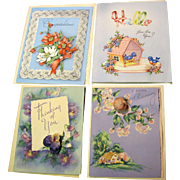 4 Unused Circa 1950's Greetings Cards, by Doehla USA