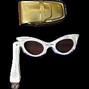 1950's Rhinestone Cats-eye Folding Lorgnette Opera Glasses with Original Case