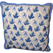 """SALE Attractive Pair of Wool Needlepoint Blue Leaf 16"""" Wool Stacking Pillows"""