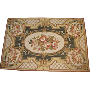 "Lovely French Rococo Style 36"" by 24"" Wool Needlepoint Panel or Small Rug"