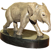 """His First Charge"" Bronze Elephant by Robert Heath Rohrbacker (one of only four prod"