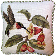 Cute Hummingbird with Flowers Small Needlepoint Pillow