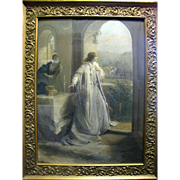 Large Victorian Romantic Lithographic Print with Original Ghesso Frame