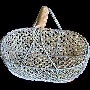 Vintage French Wire Egg or Garden Gathering Basket