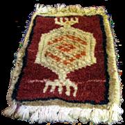 SALE Doll Size Oriental Wool Rug, Vintage Salesman's Sample No 5