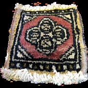 SALE Doll Size Oriental Wool Rug, Vintage Salesman's Sample No 6