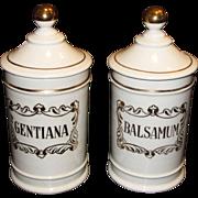 "Stylish Pair of Vintage Spanish 9 1/2"" Hand Painted Apothecary Jars  ""Balsamum & Gen"