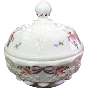 Westmoreland Grape Embossed Milk Glass Covered Candy Dish with Hand Painted Design