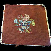 "SALE Sweet 10"" Vintage Hand Worked Wool Needlepoint Panel"