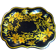 """Hand Painted 12"""" Gilt Tole Tray After an Early American Design by Gladys Ganzenmueller"""
