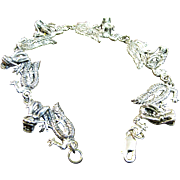 SALE Solid Sterling Dragon Link Bracelet by Designer Peter Stone, 20 grams