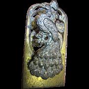 Large Antique Art Nouveau Cast Brass Paperclip, Peacock Design
