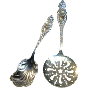 Matched Pair of Antique Sterling Servers, Manchester MFG Co, 58 Grams