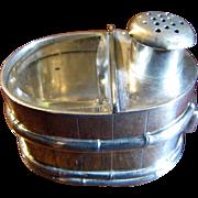 Japanese Art Deco Chiyodaya Figural Bucket Sterling Salt & Pepper Shaker, 36 Grams