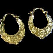 Delicate Vintage 10k Gold Engraved Hoop Earrings