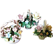 Collection of Three Capodimonte Basket Floral Ornaments, Charming!