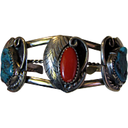 South Western Style Stone Set Cuff Bracelet