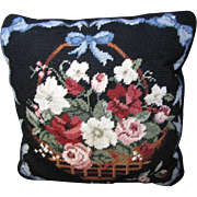 Charming Wool Needlepoint Pillow, Flowers in Basket Design