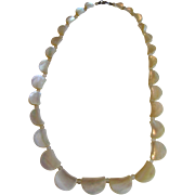 SALE Delicate 1930's Hand Carved Mother of Pearl Choker Necklace