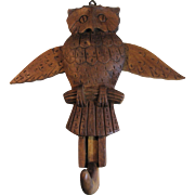 Vintage Hand Carved Wooden Folk Art Owl Hook with Lifting Wings