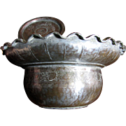 Large Signed Persian Hand Made Covered Copper Bowl
