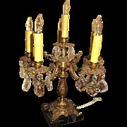 Large Vintage 5 Light Cast Brass Candelabra with Black Marble Base