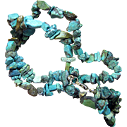 "South Western Turquoise Nugget 16"" Choker Necklace, Sterling Clasp"